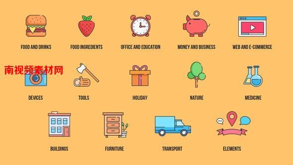 AE模板-240个二维卡通日常生活食物建筑医疗教育工具彩色图标 240+ Icons Pack