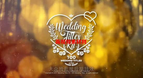 AE模板-100种浪漫漂亮小清新图形婚礼文字标题动画 + 炫光粉尘粒子背景视频素材 Wedding Titles Kit  100 Titles