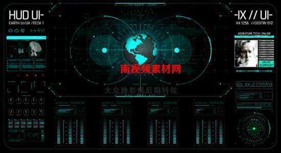 AE模板-科技感数据信息地球雷达扫描UI界面元素 HUD Earth GPRS