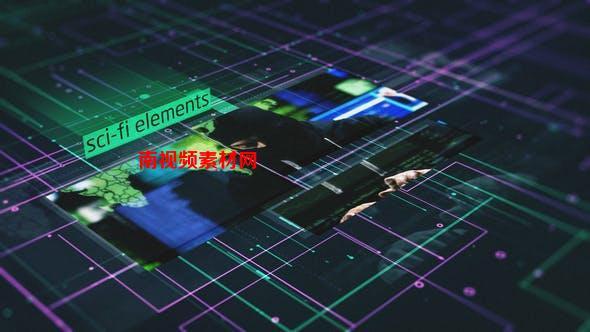 AE模板-未来数据科技感图文展示介绍 Sci-Fi Elements Slideshow