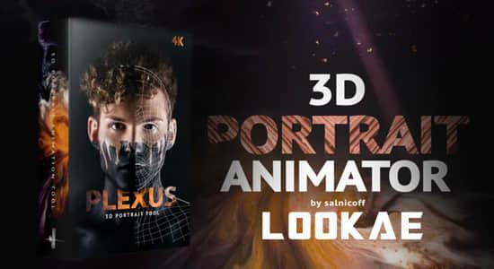 AE模板-将平面2D图片转换处理成3D空间视觉特效 3D Portrait Animator插图