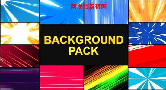 FCPX插件+AE模板-+PR模板-12种酷炫动漫卡通速度线背景动画 Speedlines Backgrounds