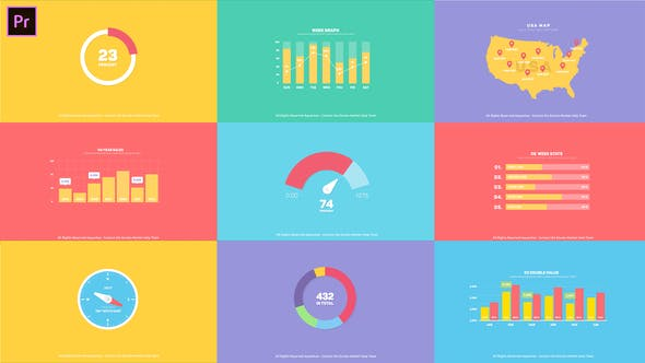 PR预设+AE模板-公司企业商务扁平化信息数据图表展示介绍MG动画