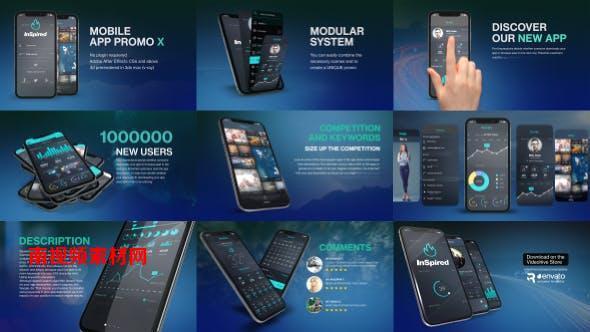AE模板-三维手机APP应用界面操作介绍 App Promo Kit X