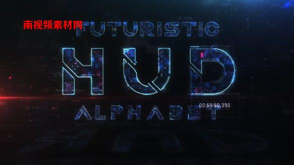 AE模板-未来科技感HUD英文字母数字预设动画 Futuristic HUD Alphabet