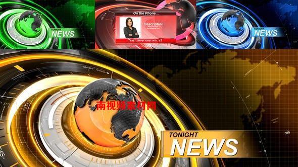 AE模板-科技感三维地球电视新闻栏目包装 News – Package